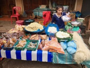 Mercado matinal local em Luang Prabang, no Laos - Nacht Market